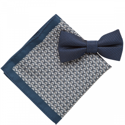 Fashion 4 Men - 2 Pack Bowtie & Geo Pocket Square