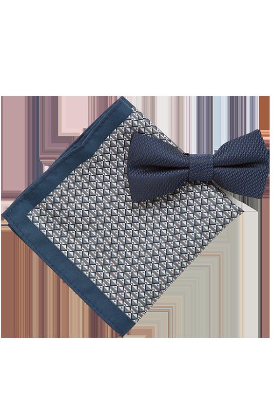 Fashion 4 Men - 2 Pack Bowtie & Geo Pocket Square