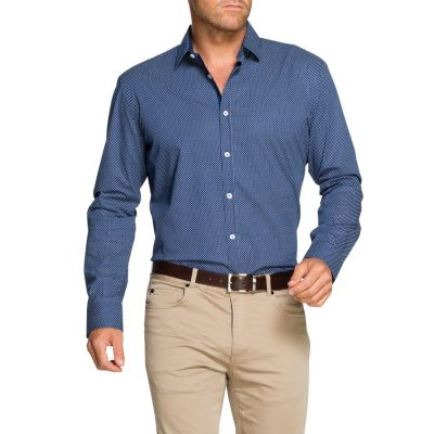 Fashion 4 Men - Tarocash Armidale Stretch Print Shirt Royal M