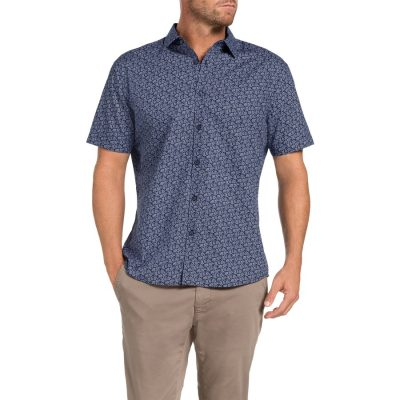Fashion 4 Men - Tarocash Bale Printed Shirt Navy L