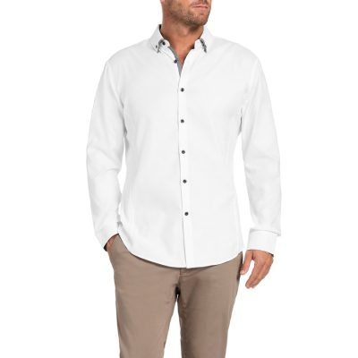 Fashion 4 Men - Tarocash Benson Textured Shirt White S