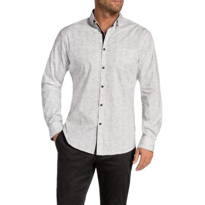 Fashion 4 Men - Tarocash Billy Slim Paisley Print Shirt Grey Xxxl