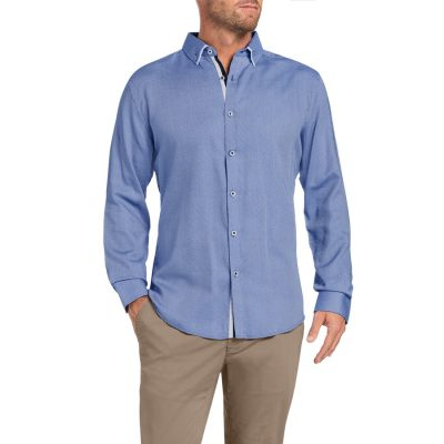 Fashion 4 Men - Tarocash Boxley Jacquard Shirt Blue S