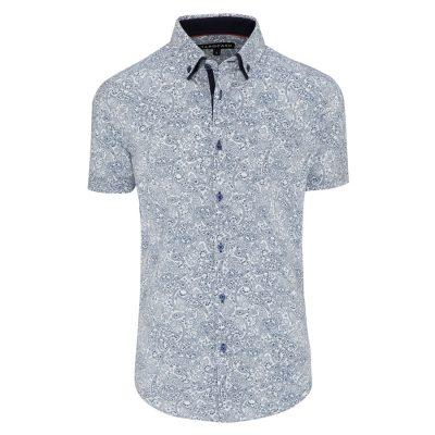 Fashion 4 Men - Tarocash Brewery Paisley Print Shirt Blue Xxl