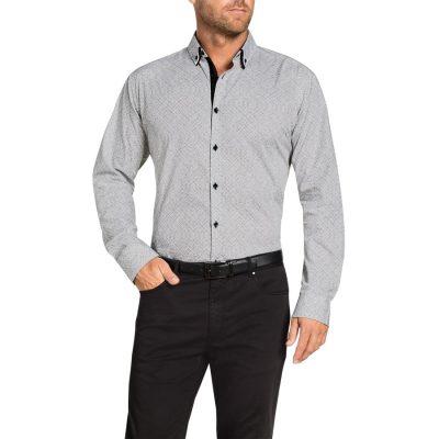 Fashion 4 Men - Tarocash Bryer Print Shirt Grey L