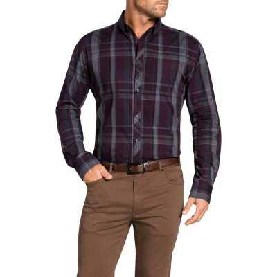 Fashion 4 Men - Tarocash Correspondent Check Shirt Burgundy S