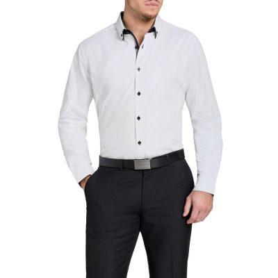 Fashion 4 Men - Tarocash Curtain Slim Textured Shirt White M