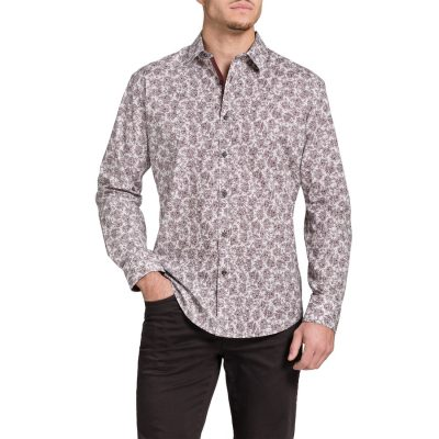 Fashion 4 Men - Tarocash Danger Slim Print Shirt Burgundy M