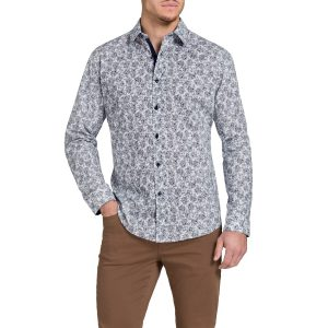 Fashion 4 Men - Tarocash Danger Slim Print Shirt Navy S