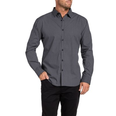 Fashion 4 Men - Tarocash Denmark Print Shirt Charcoal S