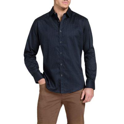 Fashion 4 Men - Tarocash Elstree Slim Print Shirt Navy Xl