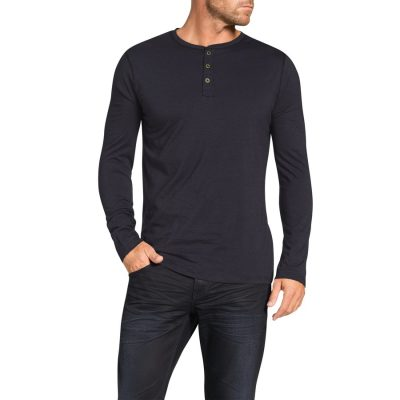 Fashion 4 Men - Tarocash Elvis Henley Stripe Long Tee Charcoal L