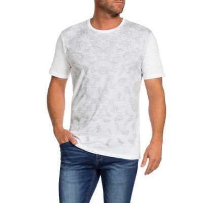 Fashion 4 Men - Tarocash Fade Out Paisley Print Tee White L