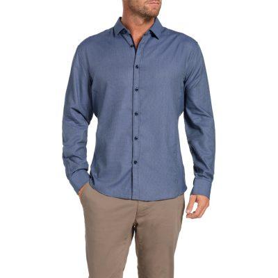 Fashion 4 Men - Tarocash Freemantle Jacquard Shirt Navy 4 Xl