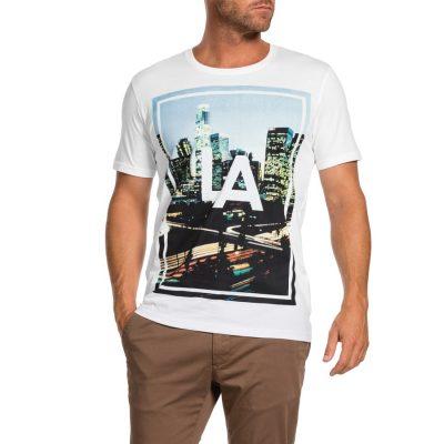 Fashion 4 Men - Tarocash Freeway Print Tee White Xxl