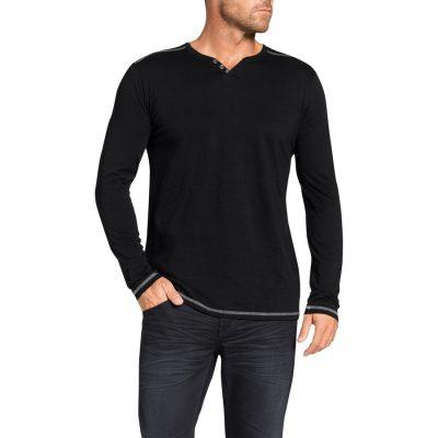 Fashion 4 Men - Tarocash Graceland Henley Long Tee Black M