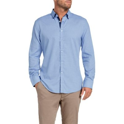 Fashion 4 Men - Tarocash Grove Jacquard Shirt Blue S