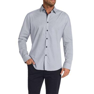 Fashion 4 Men - Tarocash Hattan Print Shirt Navy M