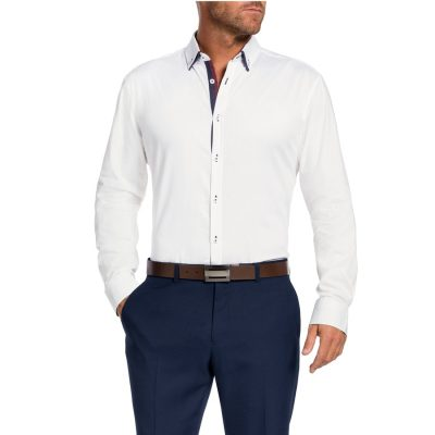 Fashion 4 Men - Tarocash Hume Slim Textured Shirt White M