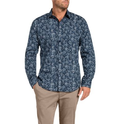 Fashion 4 Men - Tarocash Jamaica Print Shirt Navy Xxxl
