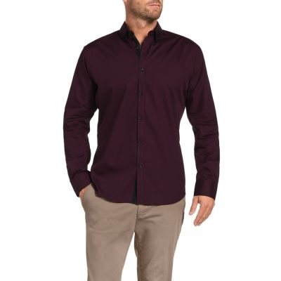 Fashion 4 Men - Tarocash Kennedy Print Shirt Burgundy Xxl