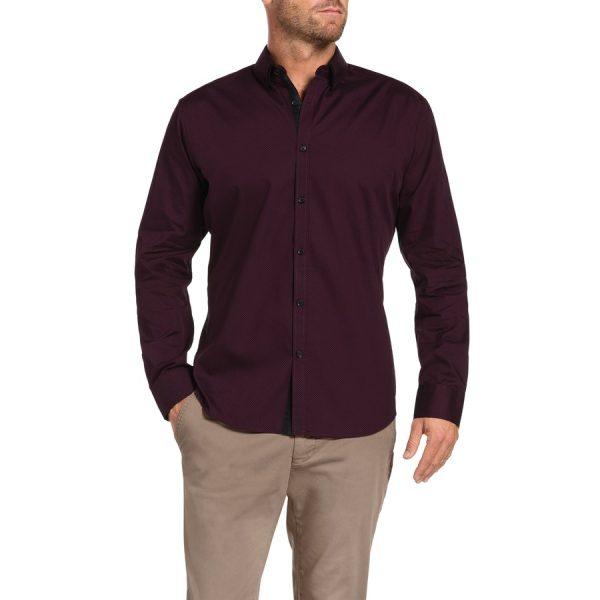 Fashion 4 Men - Tarocash Kennedy Print Shirt Burgundy Xxxl
