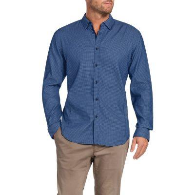 Fashion 4 Men - Tarocash Kingsley Jacquard Shirt Blue L