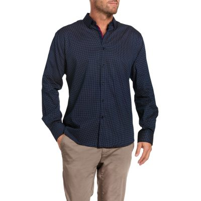 Fashion 4 Men - Tarocash Latham Print Shirt Navy S
