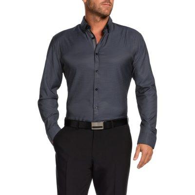 Fashion 4 Men - Tarocash Lawson Slim Textured Shirt Charcoal S