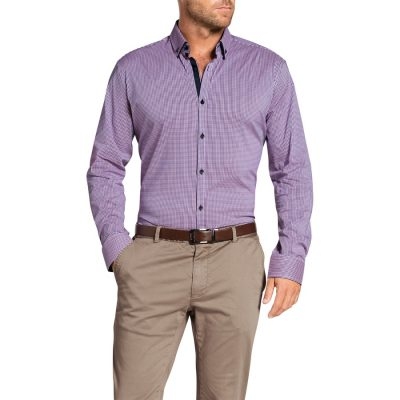Fashion 4 Men - Tarocash Manxman Stretch Check Shirt Berry M