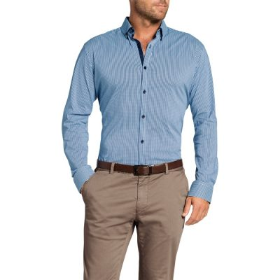 Fashion 4 Men - Tarocash Manxman Stretch Check Shirt Blue S
