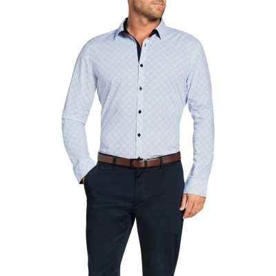 Fashion 4 Men - Tarocash Merv Print Shirt Blue L