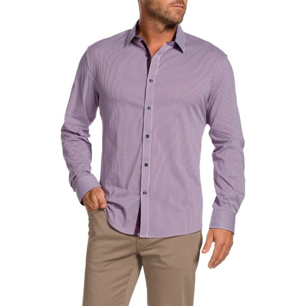 Fashion 4 Men - Tarocash Miles Slim Stretch Check Shirt Berry S