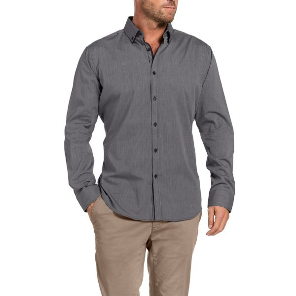 Fashion 4 Men - Tarocash Morley Stripe Shirt Charcoal S