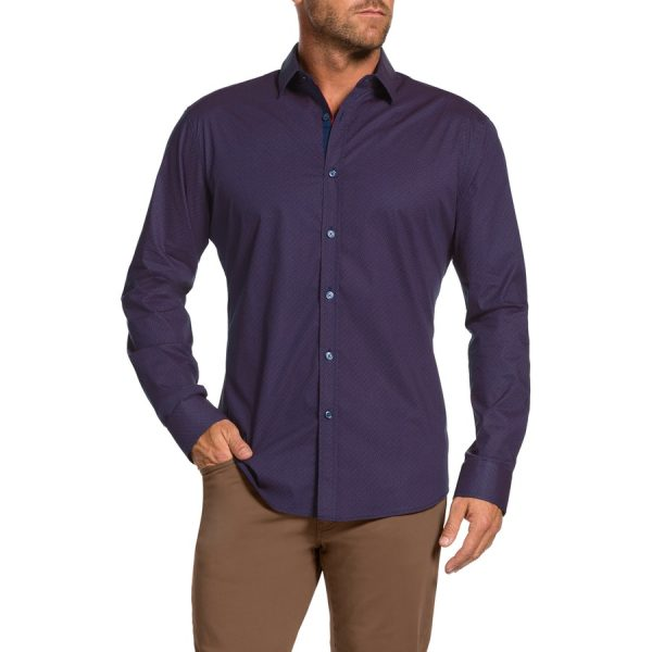 Fashion 4 Men - Tarocash Morris Stretch Slim Shirt Berry S