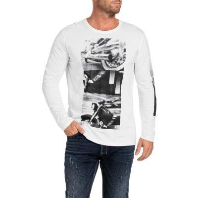 Fashion 4 Men - Tarocash Motion Print Long Tee White S