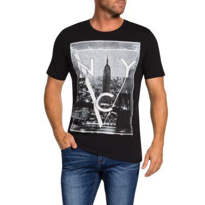 Fashion 4 Men - Tarocash New York Print Tee Black L
