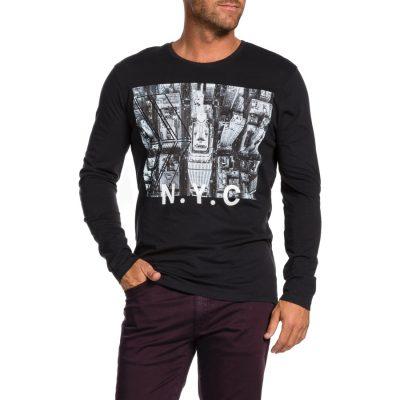 Fashion 4 Men - Tarocash Nyc Printed Long Tee Black Xxxl