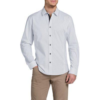 Fashion 4 Men - Tarocash Paddy Slim Print Shirt White L