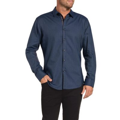 Fashion 4 Men - Tarocash Preston Jacquard Shirt Navy Xl