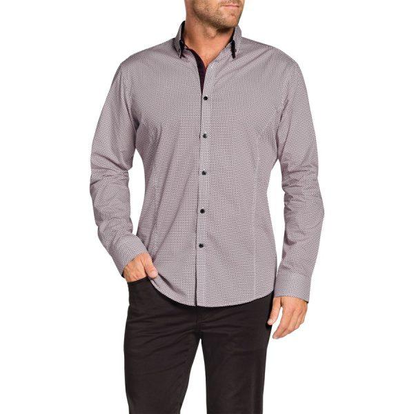 Fashion 4 Men - Tarocash Raymond Print Shirt Burgundy M