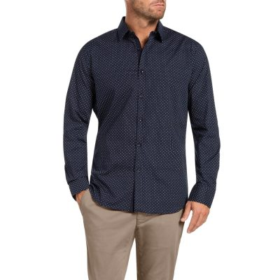 Fashion 4 Men - Tarocash Robinson Print Shirt Navy M