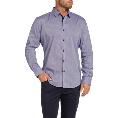 Fashion 4 Men - Tarocash Seville Stretch Check Shirt Lilac 5 Xl