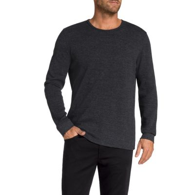 Fashion 4 Men - Tarocash Tennessee Waffle Crew Long Tee Charcoal Xxxl