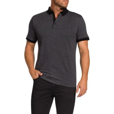 Fashion 4 Men - Tarocash Tony Textured Polo Charcoal Xxxl