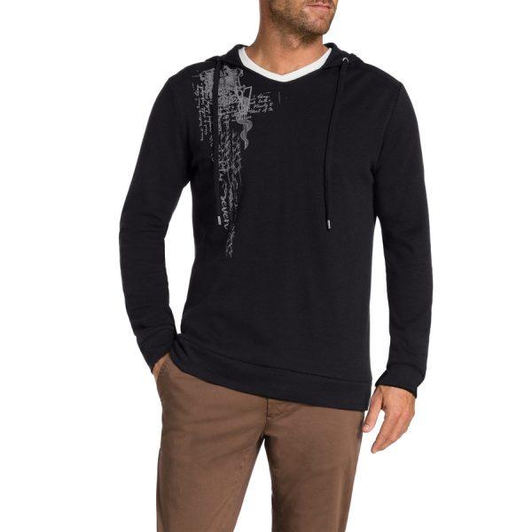Fashion 4 Men - Tarocash Waffle Hood Long Tee Black M