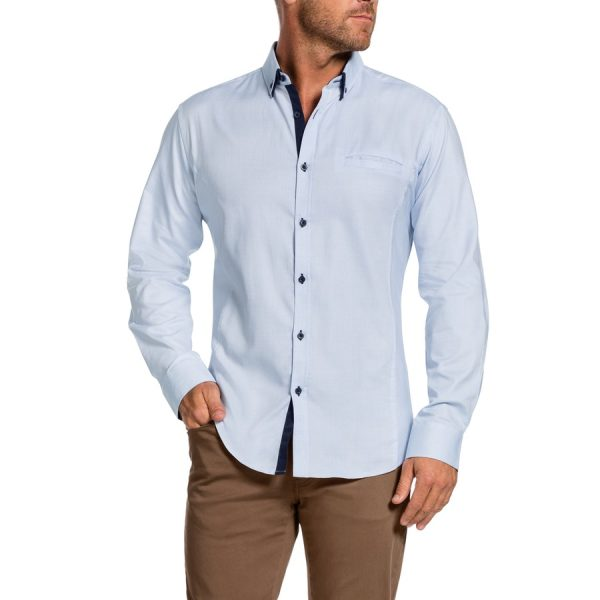 Fashion 4 Men - Tarocash Westside Textured Shirt Sky S