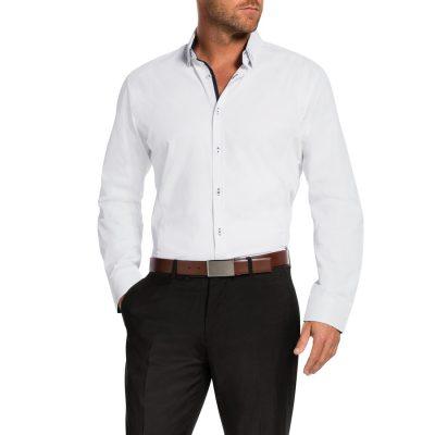 Fashion 4 Men - Tarocash Addison Slim Textured Shirt White M