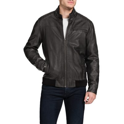 Fashion 4 Men - Tarocash Aviator Pu Bomber Jacket Smoke L