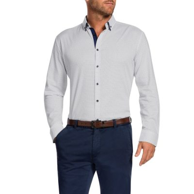 Fashion 4 Men - Tarocash Baxter Slim Print Shirt White S